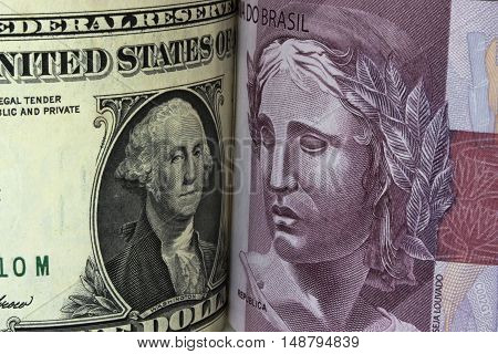 Dollar and Real currency business USA Brazil money