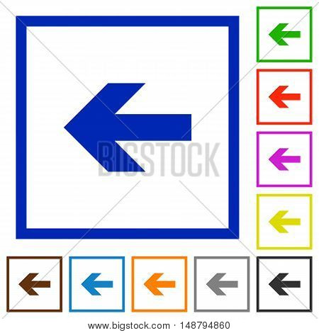 Set of color square framed left arrow flat icons