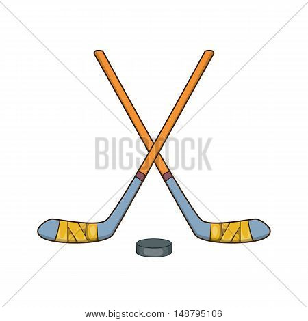 Hockey sticks and puck icon in cartoon style isolated on white background vector illustration