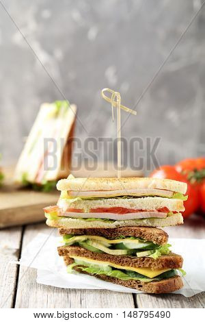 Tasty And Fresh Sandwiches On A Grey Wooden Table