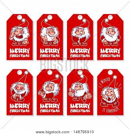 Set of Christmas gift tags with cute shaggy gnome. Holiday label ready-to-use. Vector illustration isolated on a white background.