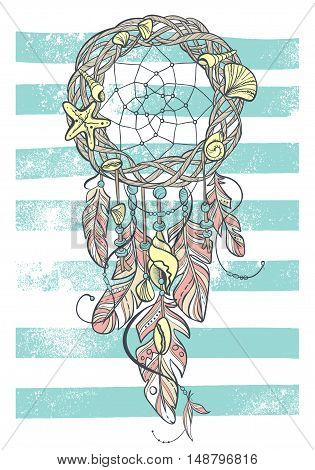 Vector Dreamcatcher Amulet of Sea Style. Native American Indian talisman with Feathers and Shells