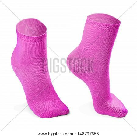 pink pair of socks isolated on white background. Imitation feet walking steps