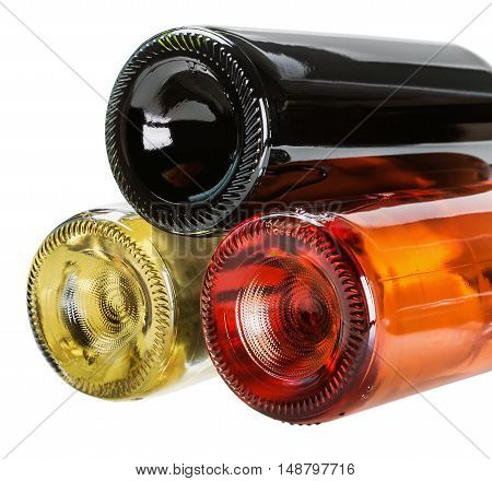 bottles of wine of different sorts isolated on white background