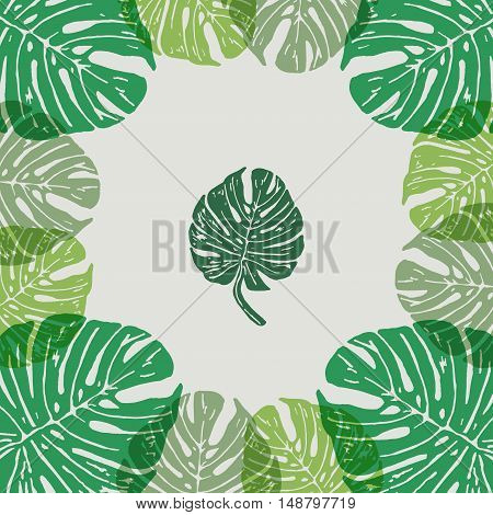 Linocut tropical Monstera leaves on background. Vector Illustrated frame from tropical plants leaves.