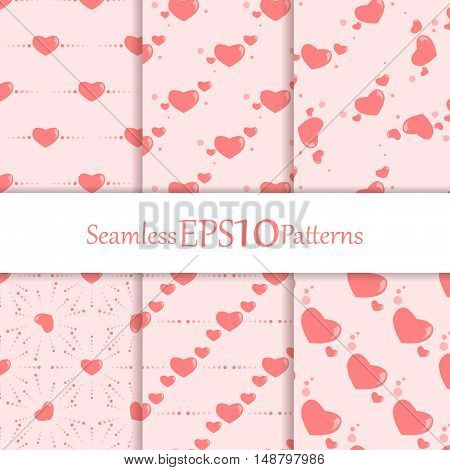 Seamless vector Valentine's patterns set. Decorative and design elements for textile, covers, wallpapers, print, wrap. Eps10