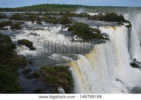 Iguazu waterfall Iguassu river tropical scenic Brazil Argentina