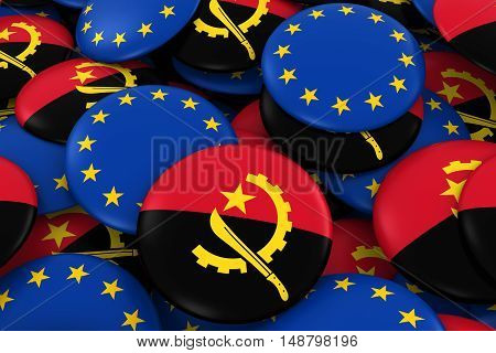 Angola And Europe Badges Background - Pile Of Angolan And European Flag Buttons 3D Illustration