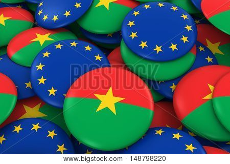 Burkina Faso And Europe Badges Background - Pile Of Burkinabe And European Flag Buttons 3D Illustrat