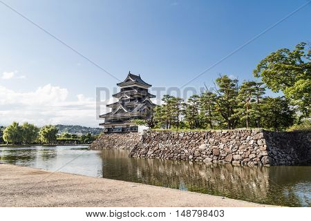 Matsumoto Castle Against Blue Sky During Summer