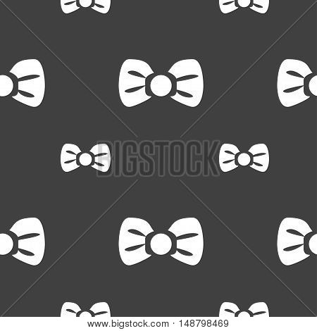 Bow Tie Icon Sign. Seamless Pattern On A Gray Background. Vector
