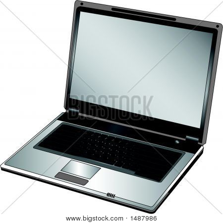 Vector Opened Laptop