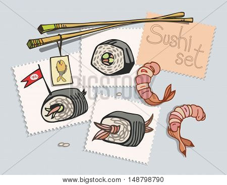 Sushi set painted on stickers. View from above on the table. Vector illustration.