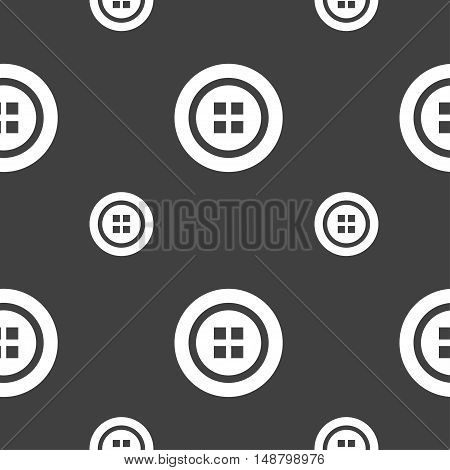 Sewing Button Sign. Seamless Pattern On A Gray Background. Vector