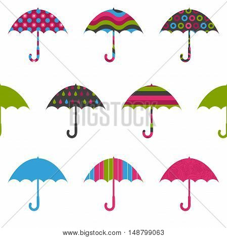 Pretty Umbrellas Cute Colorful Childish Seamless Pattern