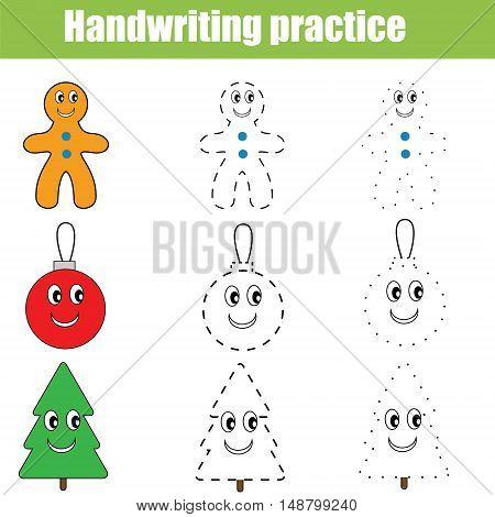 Handwriting practice sheet. Educational children game. Writing training. Printable worksheet for kids, Christmas theme