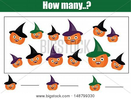 Counting educational children game, kids activity sheet with halloween pumpkins. How many objects task. Learning mathematics, numbers, addition theme