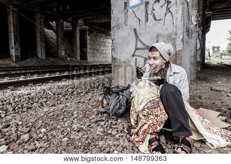 Homeless Having Meal