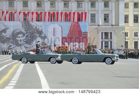 SAINT PETERSBURG, RUSSIA - MAY 09, 2015: The commander of ZVO Colonel-General Sidorov A. A. opens with the rehearsal of parade in honor of Victory day