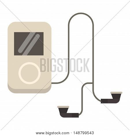 Portable music device and music player vector cartoon digital design. Technology media modern device music player and communication multimedia stereo music player, portable button smartphone.
