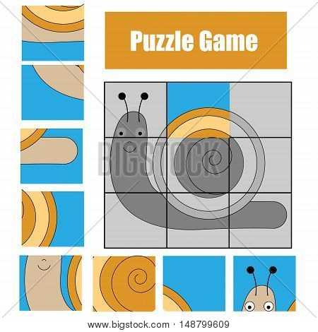 Educational puzzle game for children. Kids activity sheet with snail character, restore the picture with mosaic pieces
