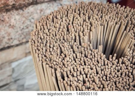 The group of incense stick. the incense sticks for buddhist temple offertory