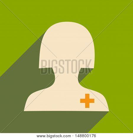 Flat with shadow icon and mobile application nurse