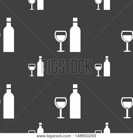 Wine Icon Sign. Seamless Pattern On A Gray Background. Vector