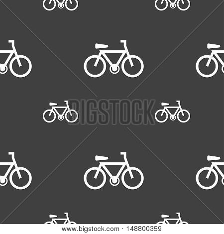 Bicycle Icon Sign. Seamless Pattern On A Gray Background. Vector