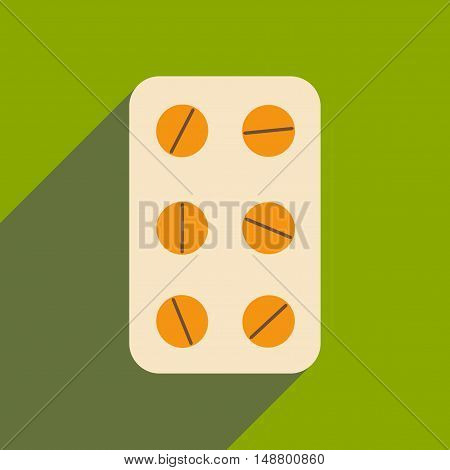 Flat with shadow icon and mobile application pharmaceutical product