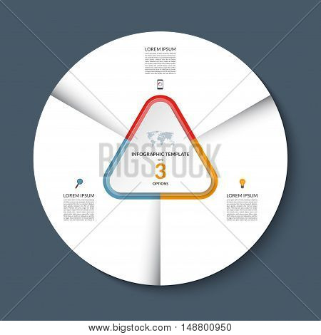 Vector infographic circle template. White round banner with 3 steps or options. Business concept with the set of marketing icons and design elements. Can be used for cycle diagram, pie chart, graph