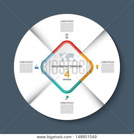 Vector infographic circle template. White round banner with 4 steps or options. Business concept with the set of marketing icons and design elements. Can be used for cycle diagram, pie chart, graph