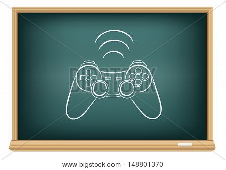 Gamepad drawing on education blackboard on a white background