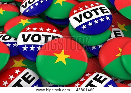 Burkina Faso Elections Concept - Burkinabe Flag And Vote Badges 3D Illustration