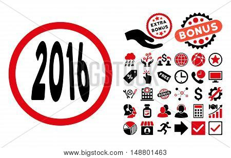 2016 Perspective icon with bonus pictures. Vector illustration style is flat iconic bicolor symbols, intensive red and black colors, white background.