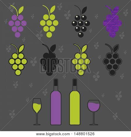 wine set symbol sign emblem. Grapevine; wine bottle wine glass. Grape background. vector illustration.