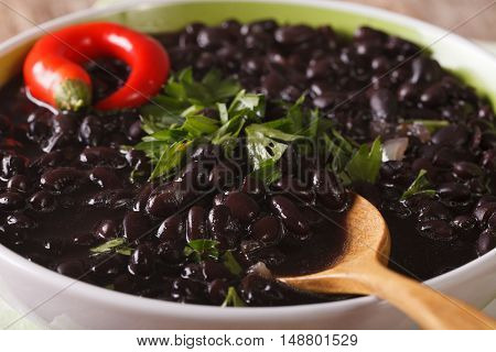 Black Bean Soup With Chilli In A Bowl Macro. Horizontal