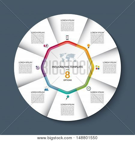 Vector infographic circle template. White round banner with 8 steps or options. Business concept with the set of marketing icons and design elements. Can be used for cycle diagram, pie chart, graph