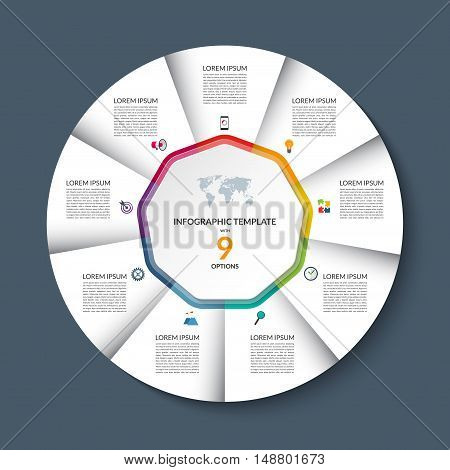 Vector infographic circle template. White round banner with 9 steps or options. Business concept with the set of marketing icons and design elements. Can be used for cycle diagram, pie chart, graph