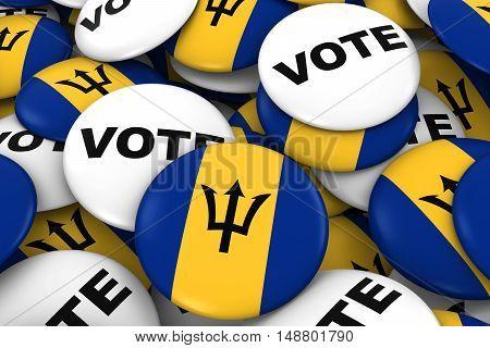 Barbados Elections Concept - Barbadian Flag And Vote Badges 3D Illustration