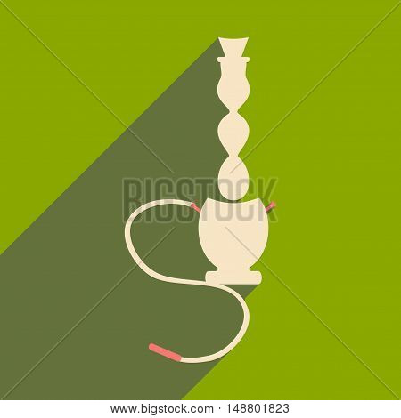Flat with shadow icon and mobile application hookah shisha