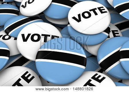 Botswana Elections Concept - Botswanan Flag And Vote Badges 3D Illustration