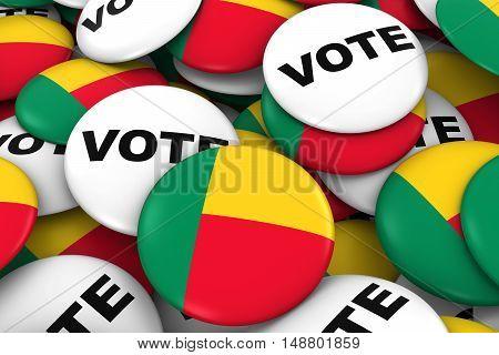 Benin Elections Concept - Beninese Flag And Vote Badges 3D Illustration