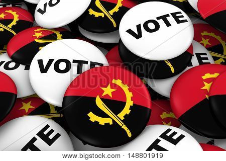 Angola Elections Concept - Angolan Flag And Vote Badges 3D Illustration