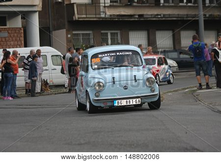 BELGRADE,SERBIA - SEPTEMBER 10, 2016 : Old Zastava 750 at the commercial race of old cars in memory of formula 1 race held on the same place in 1939 two days after the beginning of Second World War when the famous Italian driver Tazio Nuvolari won
