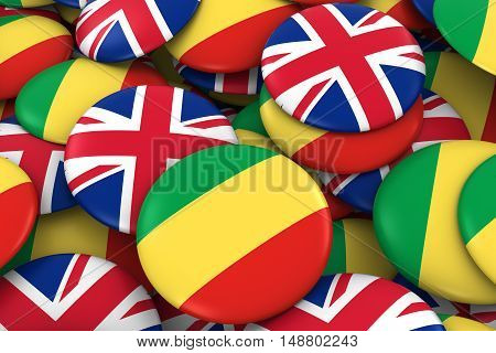 Congo And Uk Badges Background - Pile Of Congolese And British Flag Buttons 3D Illustration