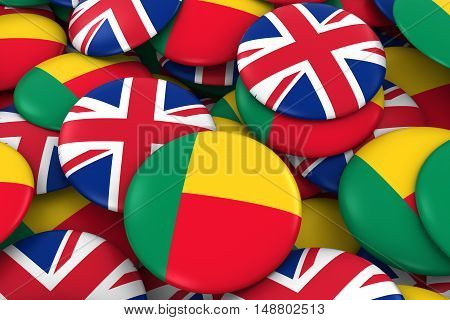 Benin And Uk Badges Background - Pile Of Beninese And British Flag Buttons 3D Illustration