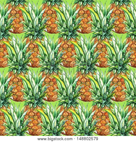 Watercolor pineapple exotic tropical fruit seamless pattern texture background