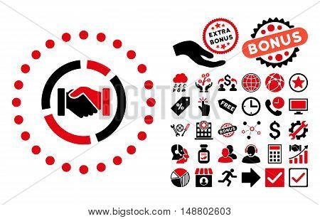 Acquisition Diagram icon with bonus design elements. Vector illustration style is flat iconic bicolor symbols, intensive red and black colors, white background.