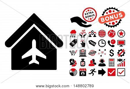 Aircraft Hangar pictograph with bonus pictogram. Vector illustration style is flat iconic bicolor symbols, intensive red and black colors, white background.
